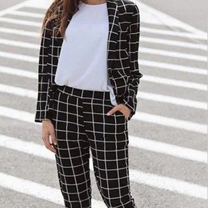 Two Piece Plaid Open Front Blazer and Elastic Pant
